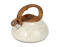 3L Stove Top Whistling Kettle Creme with Black Dots
