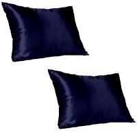 navy satin pillow slip standard pack of 2 mattress