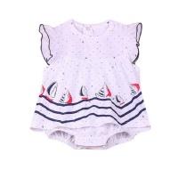 nautical polka dot fly sleeve romper dress