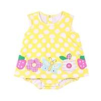 yellow polka dot sleeveless romper dress
