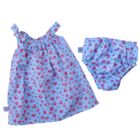 poogy bear blue floral dress with tie and bloomer set