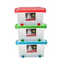 bulk pack x 3 storage box frosted 32l glider with wheels mattress