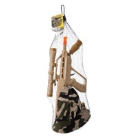 military rifle and hat set friction powered pretend play
