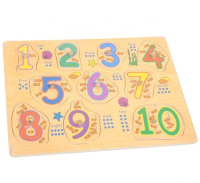 Photo of Numbers Board 1 - 10 - Wooden Push-in Board
