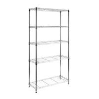 extensible shelf chrome 3 tier spaceo 90x35x180cm entertainment center