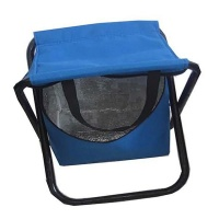 Blue 2 in 1 folding stool with cooler and carry handle