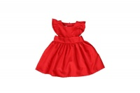 red cotton pinafore dress