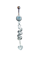 Belly Ring with dangling coil heart