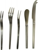 5 pieces stainless steel snack serving set in black cutlery