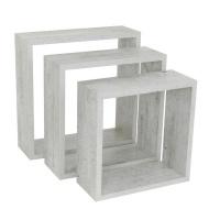 spaceo set of 3 cubed shelves concrete entertainment center