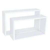 spaceo set of 2 rectangle shelves white entertainment center