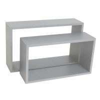 spaceo set of 2 rectangle shelves grey entertainment center