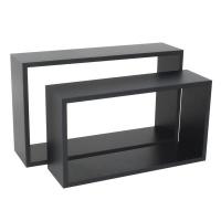 spaceo set of 2 rectangle shelves black entertainment center