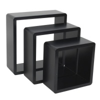 spaceo set of 3 black cubed shelves 20 x 10 24 28 entertainment center