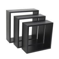 spaceo set of 3 black cubed shelves 24 x 10 27 30 entertainment center