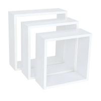 spaceo set of 3 white cubed shelves 24x1027x1030x10cm entertainment center