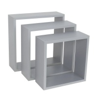 spaceo set of 3 grey cubed shelves 24x1027x1030x10cm entertainment center