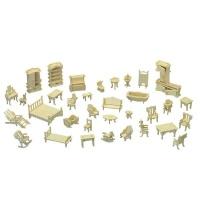 lazer cut doll house furniture self assemble 34 piece dollhouse doll