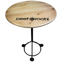 wood and steel round side table entertainment center