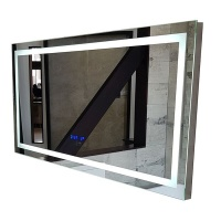 linea luce led mirror with clock temperature and mirror