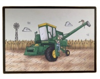 wall art baby room farm boy with harvester print