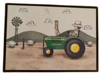 wall art baby room farm boy with tractor print