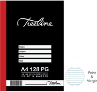treeline a4 hardcover book feint and margin 128 page