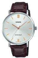 casio enticer analogue mens wrist watch silver and brown running walking equipment