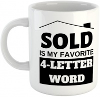 sold is my favourite 4 letter word white ceramic mug