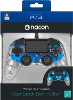 nacon wired illuminated compact controller clear blue ps4