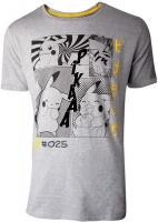 Pokémon Manga Pikachu Profile Mens T Shirt Heather Grey