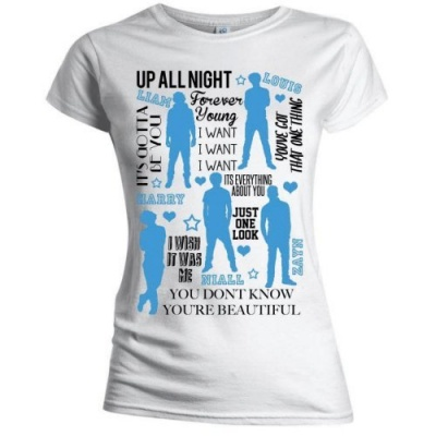 Photo of One Direction Silhouette Lyrics Blue on White Skinny T-Shirt
