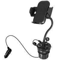 macally car cup holder wth usb charger to mount phone and