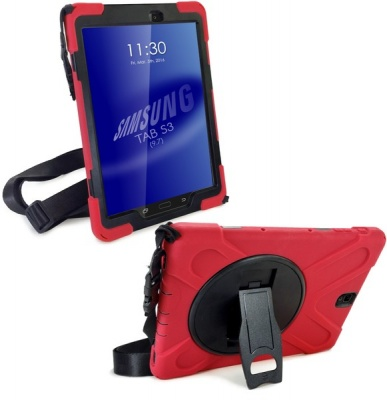 "Photo of Tuff Luv Tuff-Luv Armour Guard Case for the Samsung Galaxy Tab S3 9.7"" with Stand / Shoulder Strap and Built-in Screen"