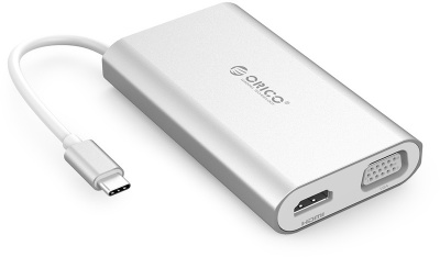 Photo of Orico - USB Type-C HDMI/VGA/RJ45/USB 3.0 Docking Station - Aluminium Silver