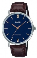 casio enticer analogue mens wrist watch silver and blue running walking equipment