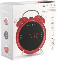 bigben interactive retro alarm clock with two alarms red