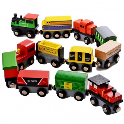 Wooden Magnetic Toy Train and Car 12 Set