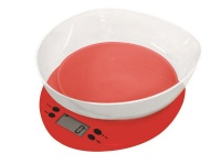 Casa Plastic Kitchen Scale With Bowl Red