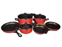 Global Kitchen 9 Piece Red Non Stick Pot and Pan Set