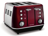 Morphy Richards Toaster 4 Slice Stainless Steel Red 1800W Evoke