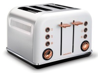 Morphy Richards Toaster 4 Slice Stainless Steel White 1800W Accents Rose Gold