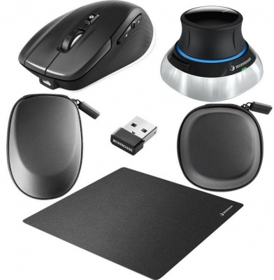 Photo of 3Dconnexion Space Mouse Wireless Kit - Mo-3SMW Mo-3CW compact mouse pad 2x tailored carry case